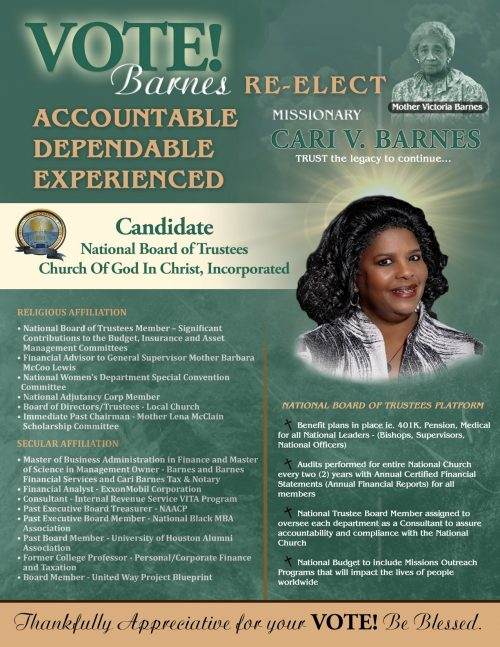 Re-Elect Missionary Cari V. Barnes for National Board of Trustees, COGIC, Inc.
