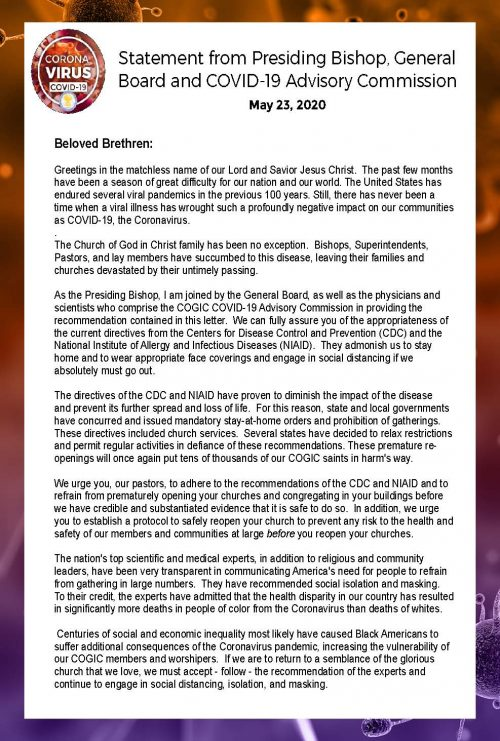 Statement from Presiding Bishop, General Board and COVID-19 Advisory Commission-Pg 1