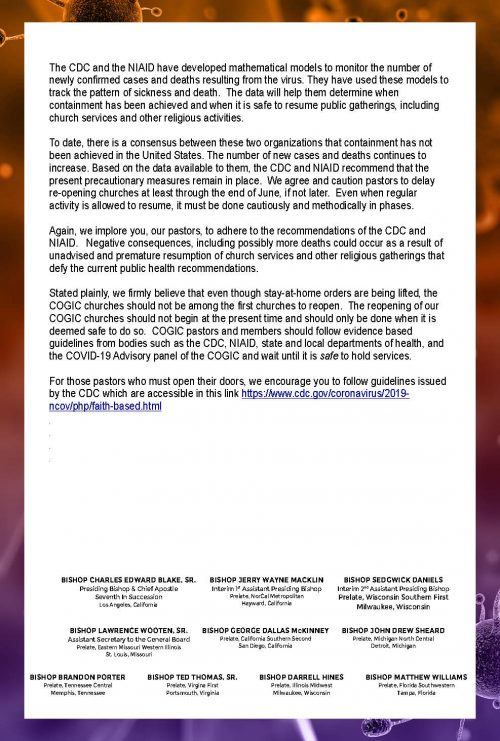 Statement from Presiding Bishop, General Board and COVID-19 Advisory Commission-Pg 2