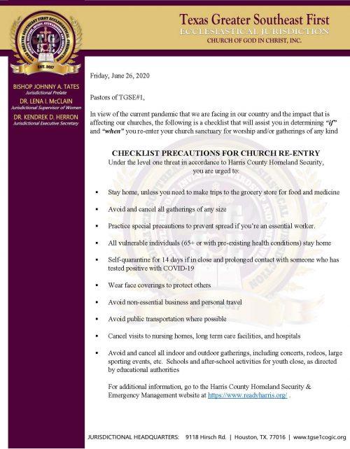 Church Re-Entry Checklist Precautions (COVID-19)
