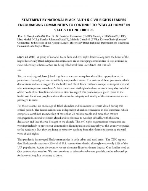 Statement by National Black Faith & Civil Rights Officials - Pg1