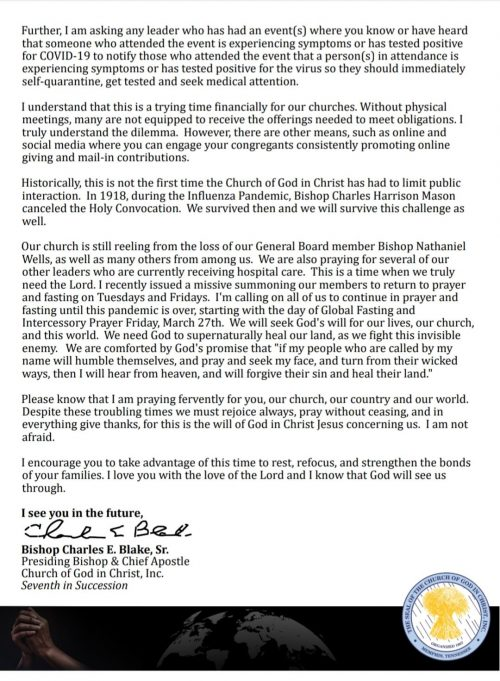 Important Correspondence from the Presiding Bishop - Part II